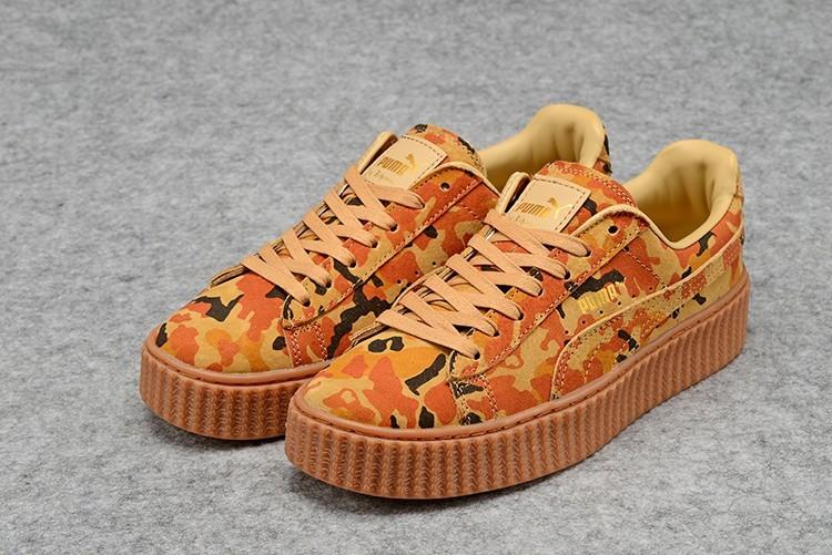 Oferta Puma by Rihanna Suede Creepers Hombre Mujer Zapatillas Marrones Naranja Camo Baratas