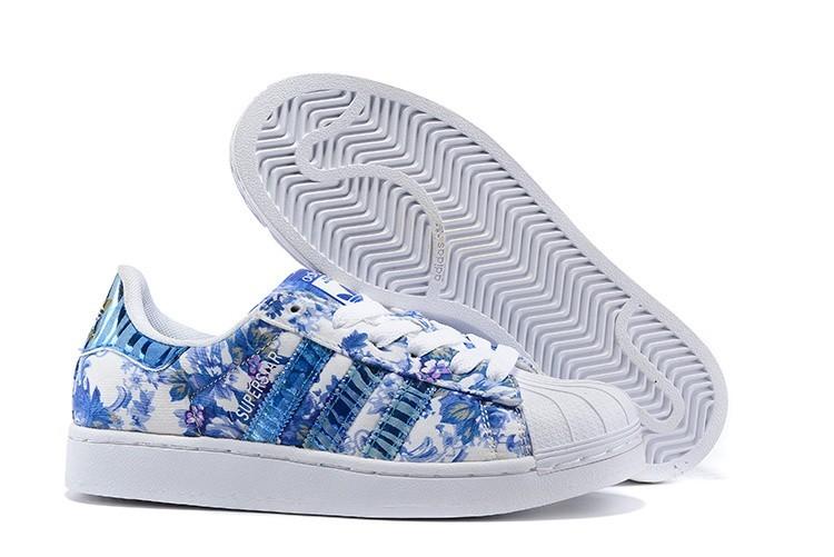 Comprar Adidas Originals Superstar 2 Print Mujer Casual Zapatillas Azul España Baratas