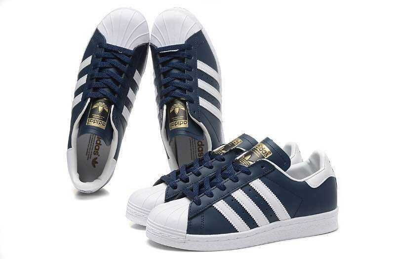 Comprar Hombre Mujer Zapatillas: Adidas Originals Superstar Foundation Collegiate Marino Running Blancas B27163 Baratos
