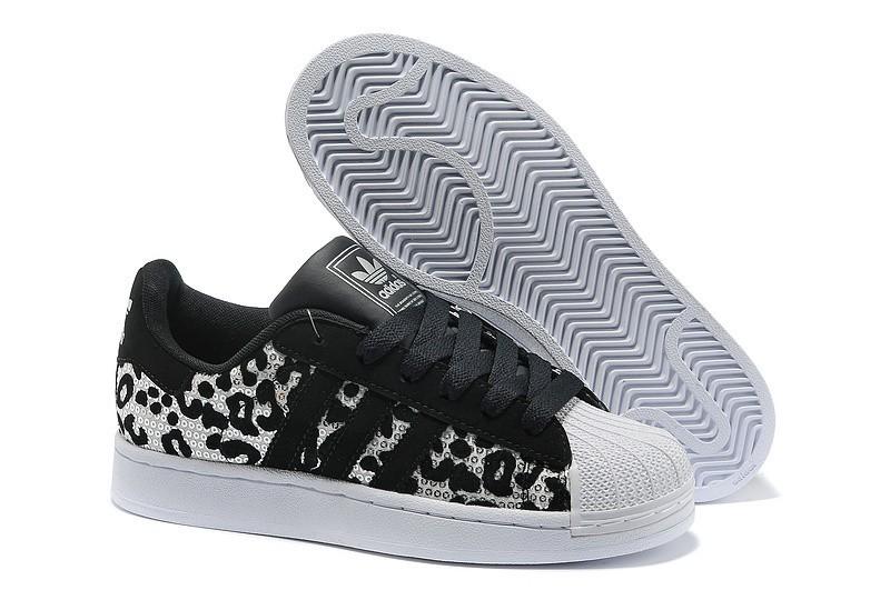 Compra Hombre Mujer Adidas Originals Superstar 2 Sparkles Casual Zapatillas Negras Leopard G63439 Baratas