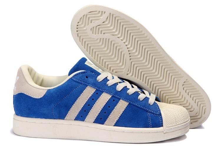 Nueva Mujer Azul Beige 096974 Adidas Originals Superstar 2 Casual Zapatillas Baratas