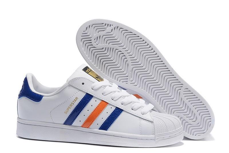 Nueva 2016 Hombre Adidas Originals Superstar East River Zapatillas Blancas Bold Azul Metallic Doradas B34310 Outlet España