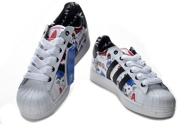 quality design 92927 e8ca4 Oferta Hombre Mujer Adidas Originals Superstar II Zapatillas Running  Blancas Negras Azul Print G43778 España