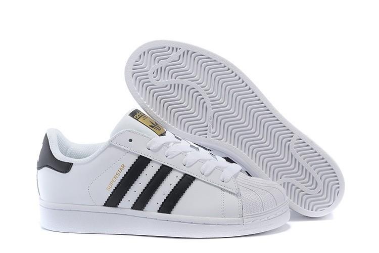 Venta 2016 Hombre Mujer Blancas Negras C77124 Adidas Originals Superstar Zapatillas Rebajas Baratas