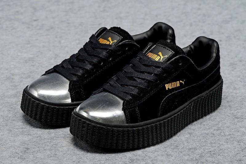 Nueva Hombre Mujer Zapatillas: Puma by Rihanna Suede Creepers Negras Plata Rebajas Online