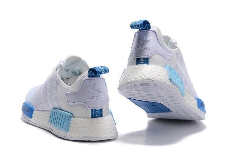 reputable site 0d127 d0017 Compra Adidas Originals NMD High Top Hombre Mujer Zapatillas Blancas Azul  S75235 Baratos