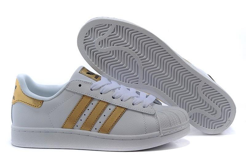 Oferta Adidas Originals Superstar II Bling Hombre Mujer Casual Zapatillas Blancas Metallic Doradas Negras V24626 Rebajas