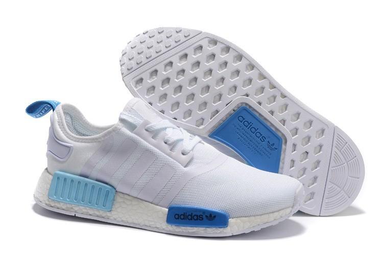 Compra Adidas Originals NMD High Top Hombre Mujer Zapatillas Blancas Azul S75235 Baratos
