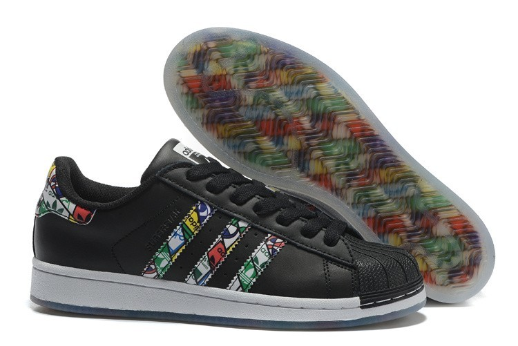 Nueva 2016 Hombre Mujer Adidas Originals Superstar Tongue Label Zapatillas Negras S79391 España Rebajas
