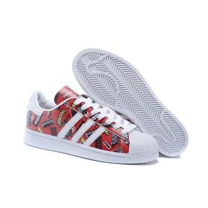 Oferta 2016 Hombre Mujer Adidas Originals Superstar Nigo Allover Print Zapatillas Scarlet Blancas Azulbird S83388 Online Baratas