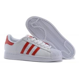Nueva Hombre Mujer Adidas Originals Superstar 2 Casual Zapatillas Blancas Rojas G09879 Baratas