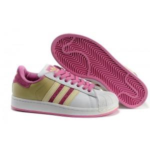 Compra Mujer Adidas Originals Superstar 2 Casual Zapatillas Blancas Rosa Amarillo 677294 España Rebajas