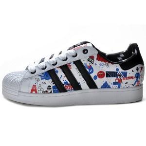 Oferta Hombre Mujer Adidas Originals Superstar II Zapatillas Running Blancas Negras Azul Print G43778 España