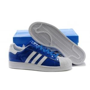 Venta Hombre Mujer Adidas Originals Classic Superstar 2 Casual Zapatillas Azul Blancas D65603 España Baratas