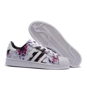 Comprar 2016 Mujer Adidas Originals Superstar Lotus Print Casual Zapatillas Blancas Flores AF5582 Rebajas
