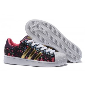 "Compra 2016 Mujer Floral Negras Doradas B35441 Adidas Originals Superstar ""Russian Bloom"" Print Zapatillas Baratas"
