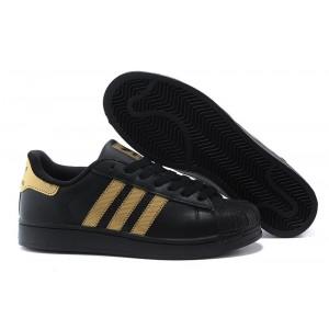 Oferta Hombre Mujer Adidas Originals Superstar II Casual Zapatillas Negras Metallic Doradas V24625 Baratas