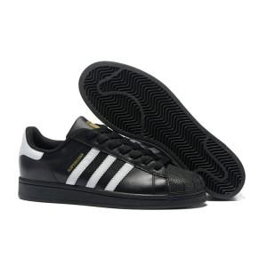 Comprar 2016 Hombre Mujer Adidas Originals Superstar Negras Blancas C77123 Zapatillas Baratos
