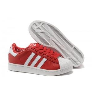 Oferta Mujer Adidas Originals Superstar 2 Casual Zapatillas Rojas Blancas 663654 España Baratas