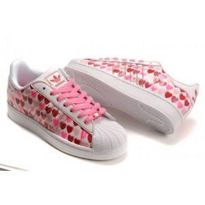 Venta Adidas Originals Superstar 2 Hearts Print Mujer Casual Zapatillas Rosa Blancas 060158 Baratas
