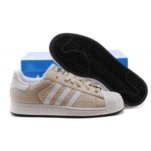 Oferta Hombre Mujer Adidas Originals Superstar II Beige Blancas D65470 Casual Zapatillas Baratos