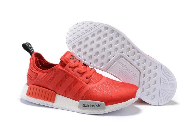 Venta Adidas Originals NMD High Top Hombre Mujer Zapatillas Bright Rojas Blancas S79385 Outlet España