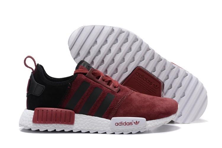 Nueva Hombre Adidas NMD XR4 Running Suede Zapatillas Burdeos Negras Baratos