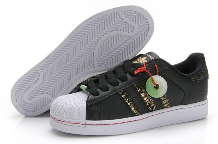 Venta Adidas Originals Superstar 2 CNY Casual Zapatillas Hombre Mujer Negras Doradas Q35135 Baratos