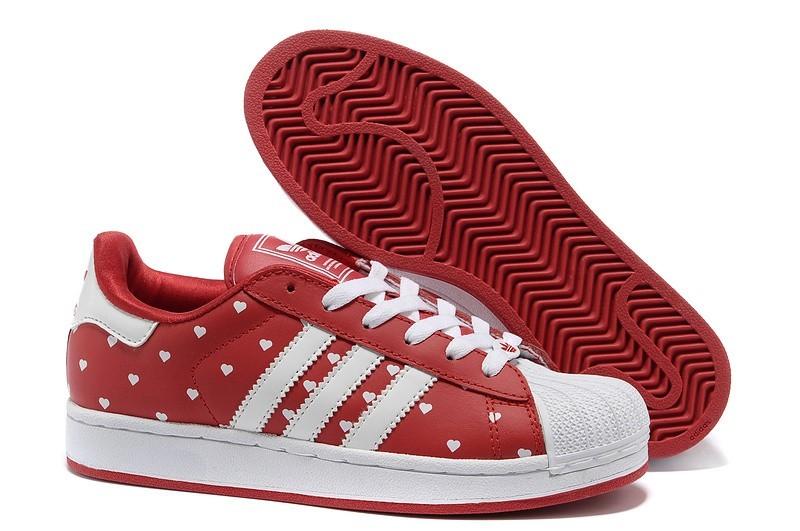 """Venta Mujer Adidas Originals Superstar 2 """"Heart"""" Print Casual Zapatillas Rojas Blancas G63092 Outlet España"""