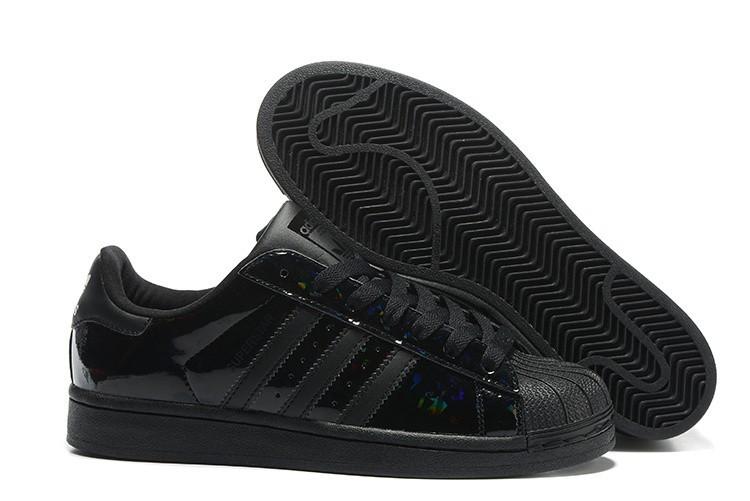 Compra 2016 Hombre Mujer Negras B35436 Adidas Originals Superstar Zapatillas Baratas