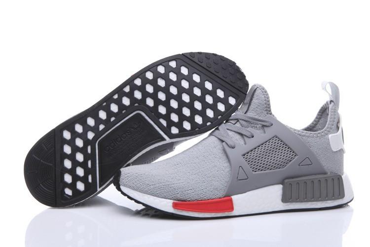 Venta Hombre Zapatillas - Adidas Originals NMD High Top Grises Rojas Rebajas