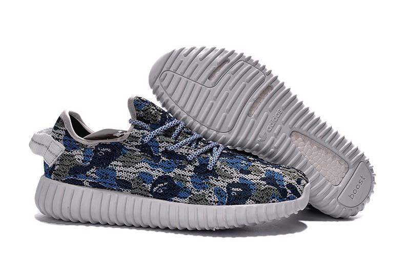 Venta Adidas Yeezy Boost 350 Hombre Zapatillas Azul Camo AQ4833 Baratas