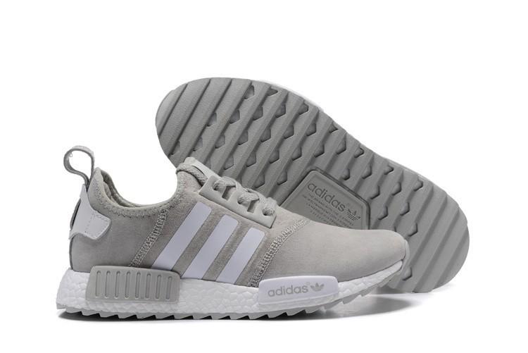 Venta Adidas NMD XR4 Running Suede Hombre Zapatillas Wolf Grises Blancas España Online