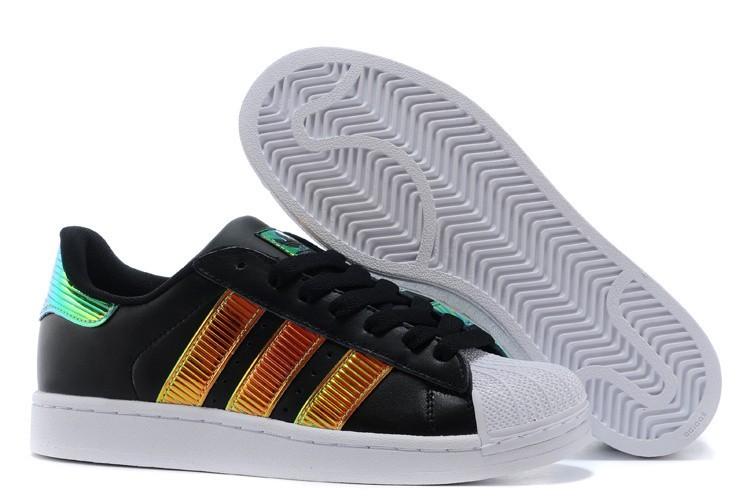 Oferta Adidas Originals Classic Superstar SS Bling Casual Zapatillas Hombre Mujer Negras Doradas D65616 Baratas