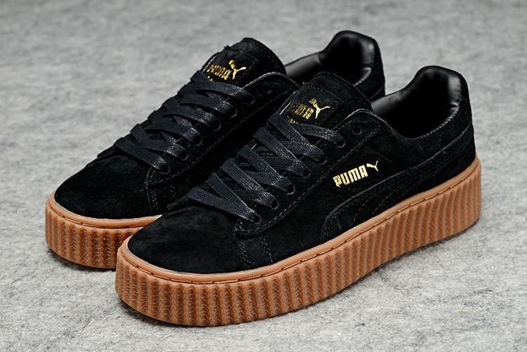 Compra Hombre Mujer Zapatillas: Puma by Rihanna Suede Creepers Negras Marrones Online Baratas